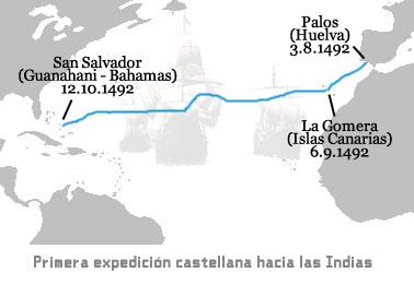 El Descubrimiento de América - mapa del viaje