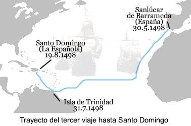 Mapa del tercer viaje de Cristóbal Colón a América