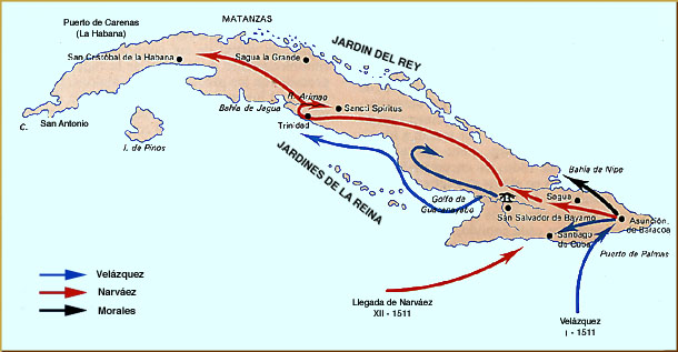 Mapa de la Conquista de Cuba