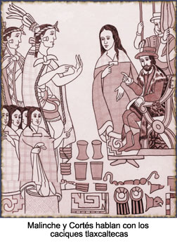 Malinche, Cortés y los tlaxcaltecas