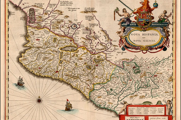 Mapa de Nueva Galicia en el virreinato de Nueva España