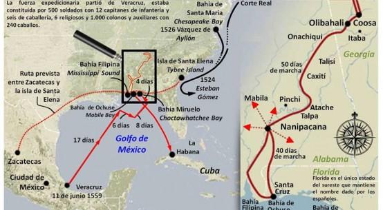 Mapa de la expedición de Tristán de Luna