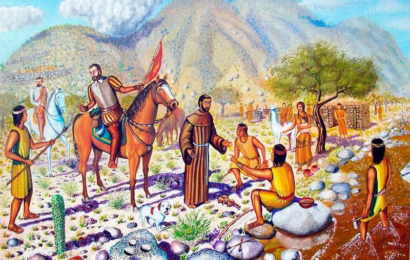 Religiosos españoles con nativos americanos