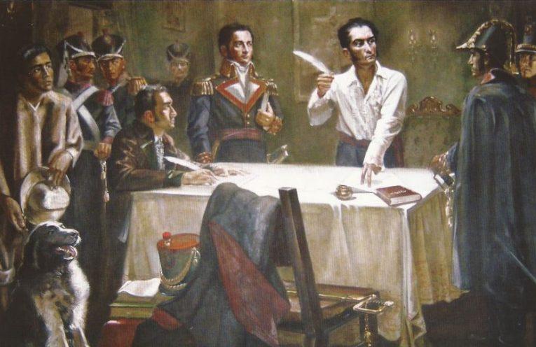 Bolívar firma el Decreto de Guerra a Muerte