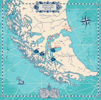 Mapa del extrecho de Magallanes