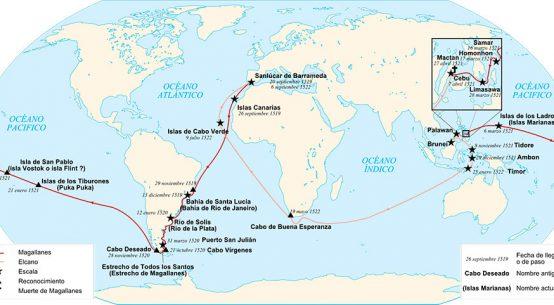 Mapa de la ruta de la expedición de Magallanes y Juan Sebastián Elcano
