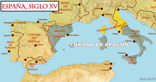 Mapa de los reinos de España en el siglo XV