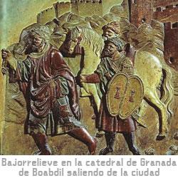 Bajorrelieve de la catedral de Granada de Boabdil saliendo de la ciudad