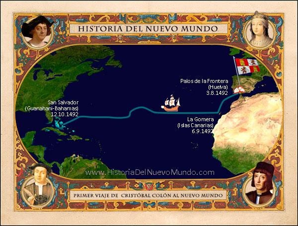 Mapa de la ruta del primer viaje de Cristóbal Colón al Nuevo Mundo