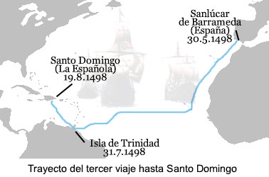 Map of Christopher Columbus' third voyage to America