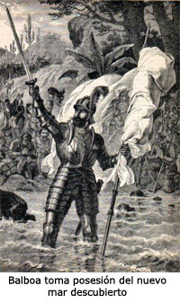 Vasco Núñez de Balboa taking possession of the Pacific Ocean