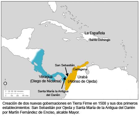 Mapa gobernaciones de Tierra Firme