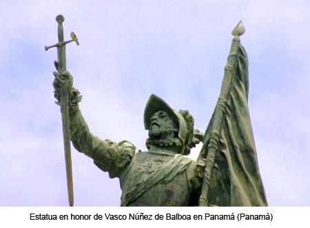 Estatua en honor de Núñez de Balboa en Panamá