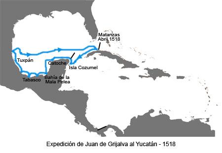Inicios de la Conquista de México - Mapa de la expedición de Juan de Grijalva