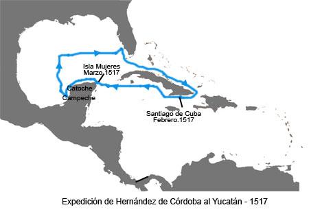 Inicios de la Conquista de México - Mapa de la expedición de Hernández de Córdoba
