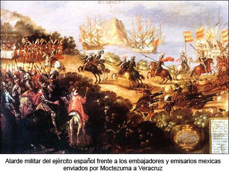 Alarde militar de Hernán Cortés y sus hombres frente a los mexicas