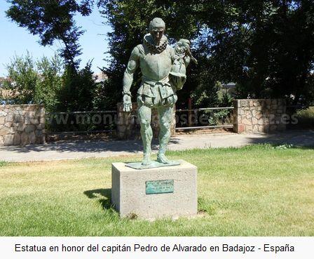 Estatua en honor de Pedro de Alvarado en Badajoz, conquistador de Centroamérica