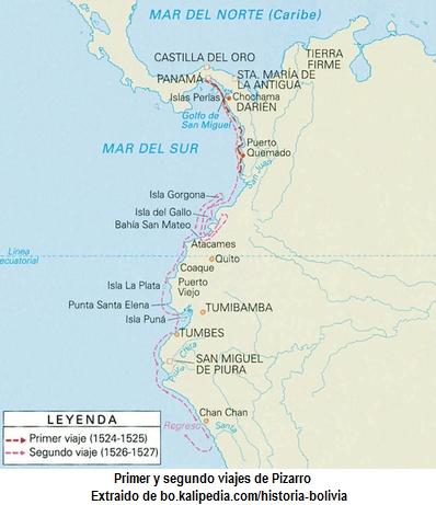 Mapa de los dos primeros viajes de Pizarro hacia el Perú