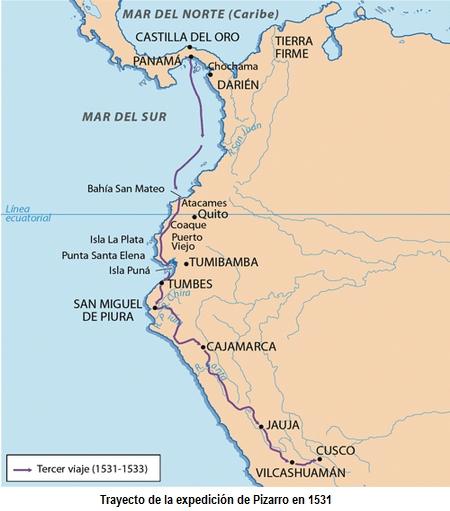 Trayecto del viaje de conquista de Pizarro
