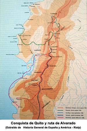 Mapa de la conquista de Quito