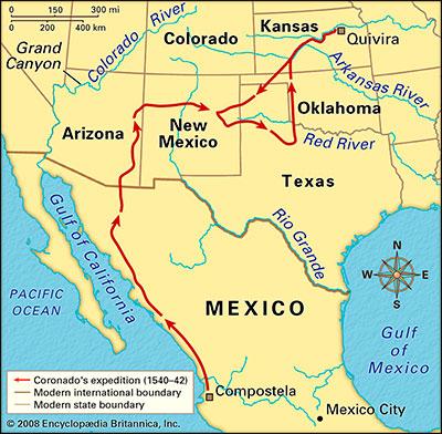 Mapa de la ruta de Francisco Vázquez de Coronado por el sur de los Estados Unidos