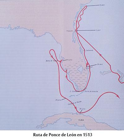 Mapa ruta de Juan Ponce de León
