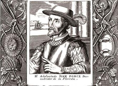 Portrait in engraving of Juan Ponce de León