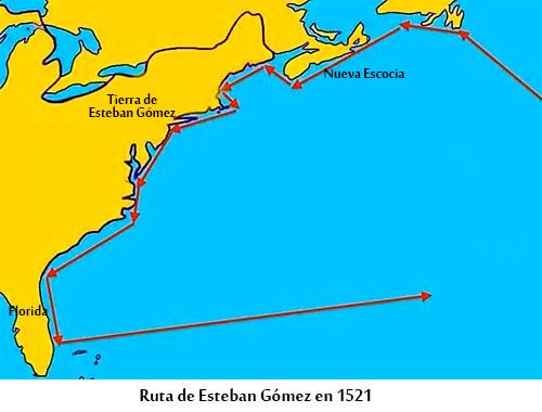 Ruta de Esteban Gómez en 1524