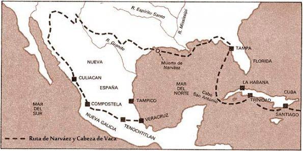 Mapa de la expedición de Pánfilo de Narváez y Cabeza de Vaca