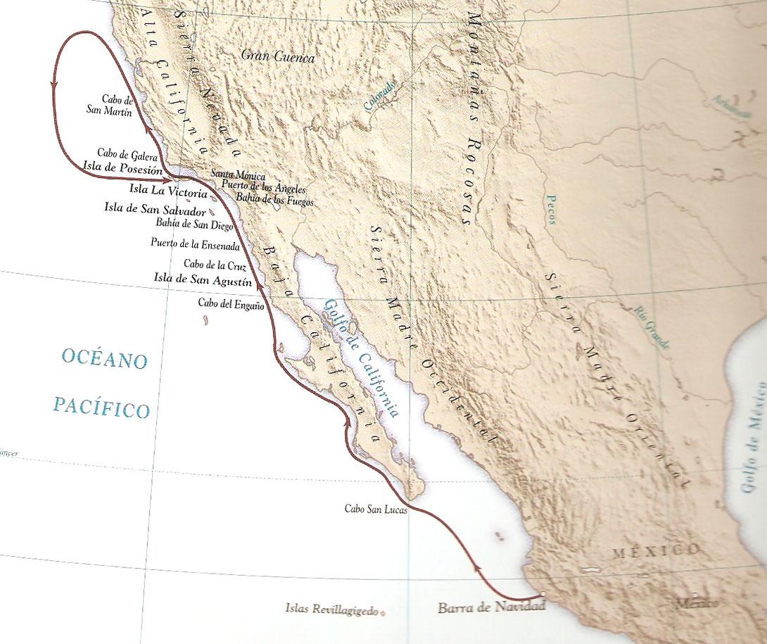Ruta de Rodríguez de Cabrillo descubriendo California