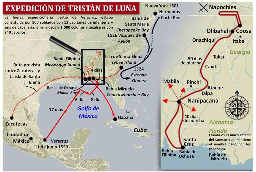 Mapa de la ruta de Tristán de Luna