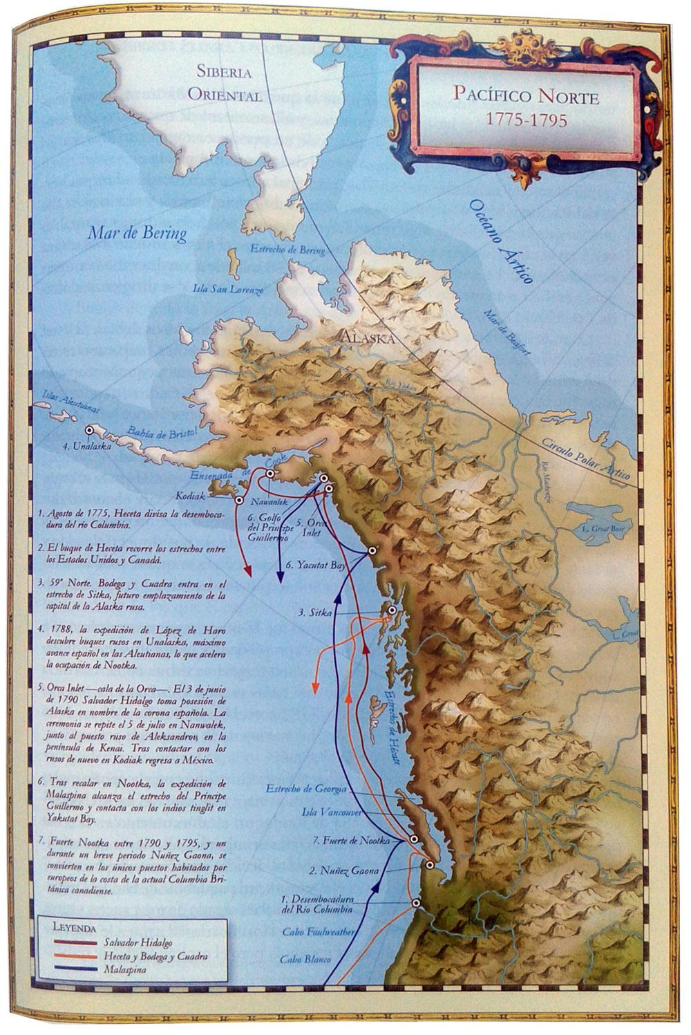 Mapa de la expediciones de la conquista de Alaska
