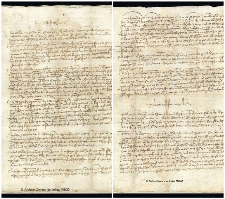 Copia de la Carta de Elcano a Carlos I