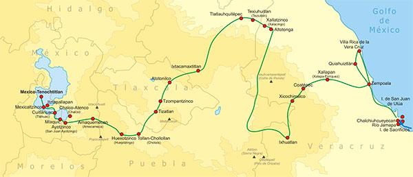 Ruta de Cortés desde Veracruz hasta Tenochtitlan