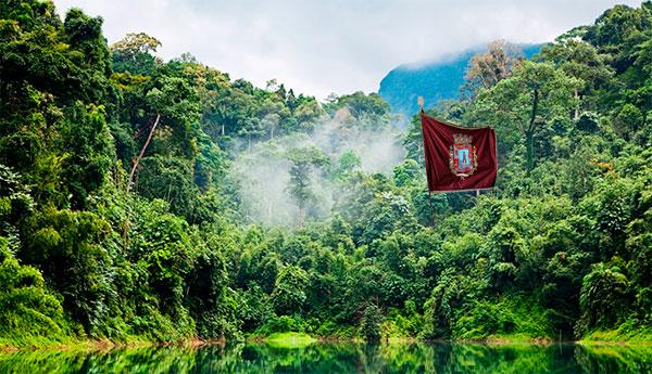 Pendón de Castilla en la Amazonía fotografiada por los nepalíes