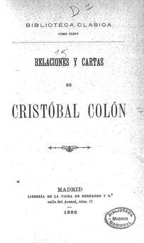 Relaciones y Cartas de Cristóbal Colón 1492