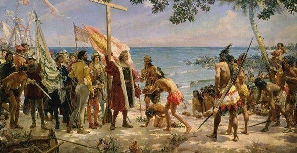 Cristóbal Colón se comunica con los nativos